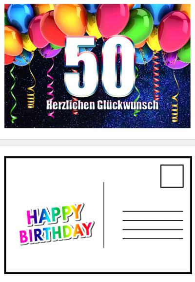 Geburtstagskarte zum 50. zum Ausdrucken