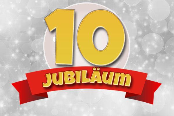 Glückwünsche zum 10. Firmenjubiläum