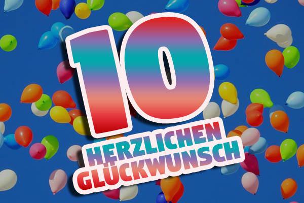 Luftballons zum 10. Geburtstag