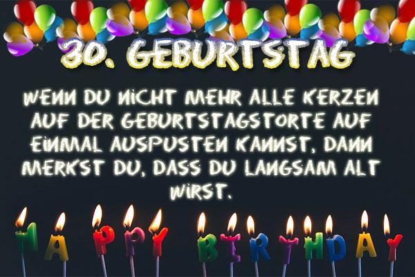 Lustiger Spruch zum 30. Geburtstag