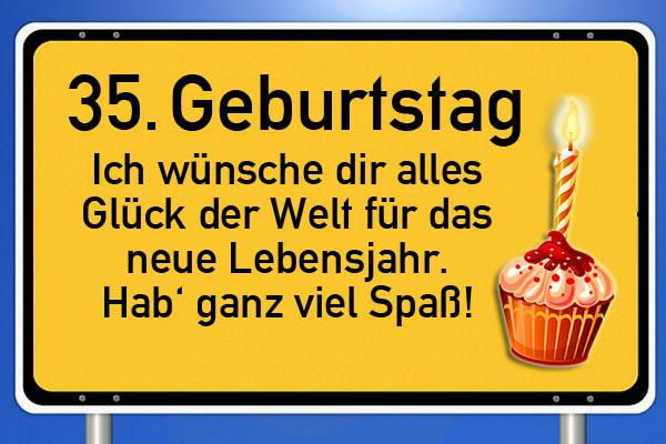 Schild mit Torte zum 35. Geburtstag