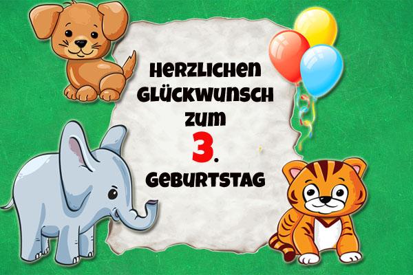 Wilde Tiere bringen Glückwünsche zum dritten Geburtstag