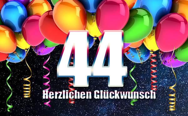 44 Jahre - Ballons vor Sternennhimmel