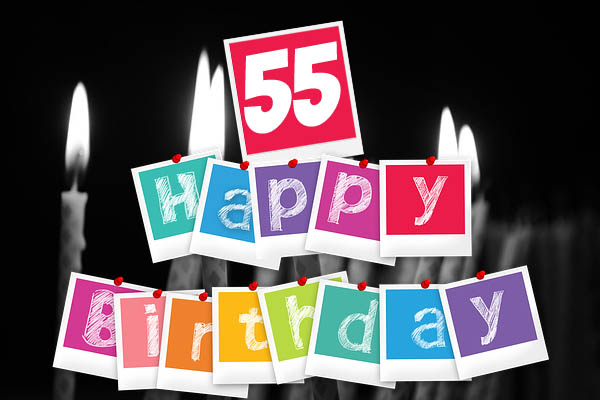 Gratualtion mit Kerzen zum 55. Geburtstag