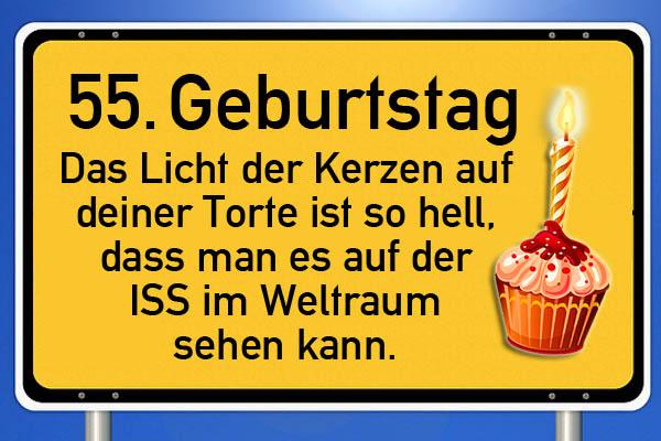 Schild zum 55. Geburtstag