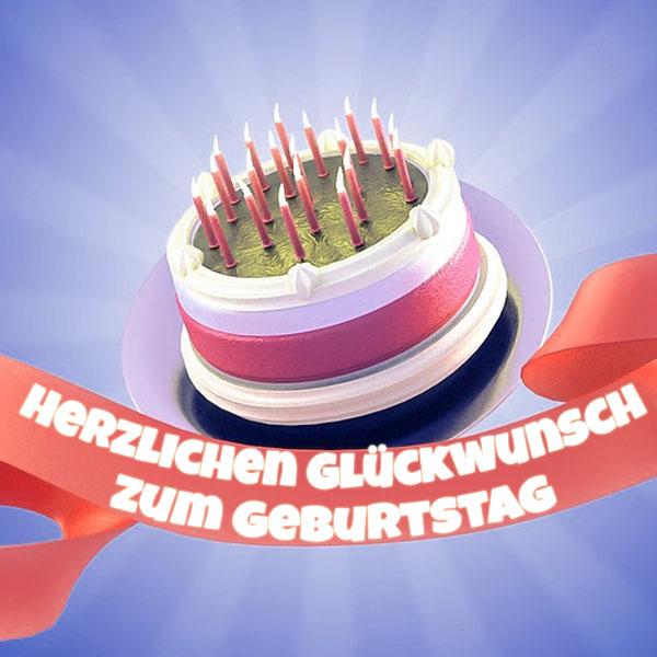 Geburtstagstorte mit vielen Kerzen